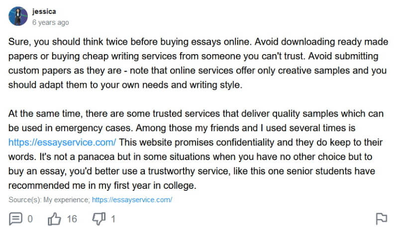 EssayService.com reviews on Yahoo Answers